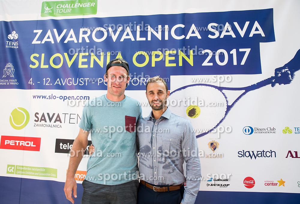 Grega Zemlja, Aljaz Kos during press conference of ATP Challenger Tennis tournament Zavarovalnica Sava Slovenia Open 2017 on June 24, 2017 in Tivoli, Ljubljana, Slovenia. Photo by Vid Ponikvar / Sportida