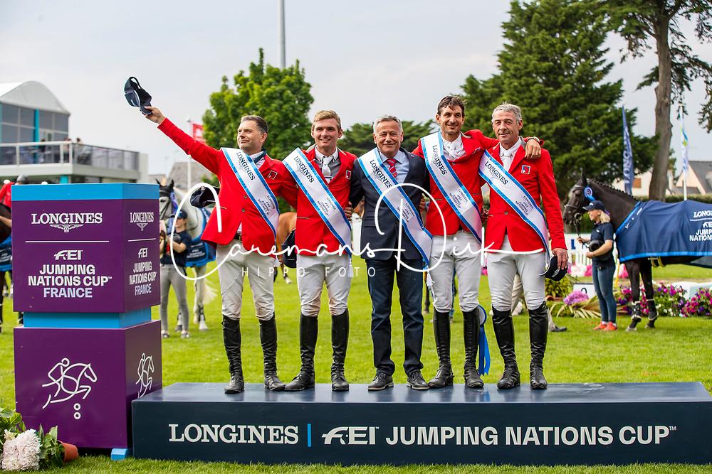 Team Switzerland, Rutchi Niklaus, Balsiger Bryan, Kistler Andy, Estermann Paul, Guerdat Steve<br /> Jumping International de La Baule 2019<br /> © Hippo Foto - Dirk Caremans<br /> 17/05/2019