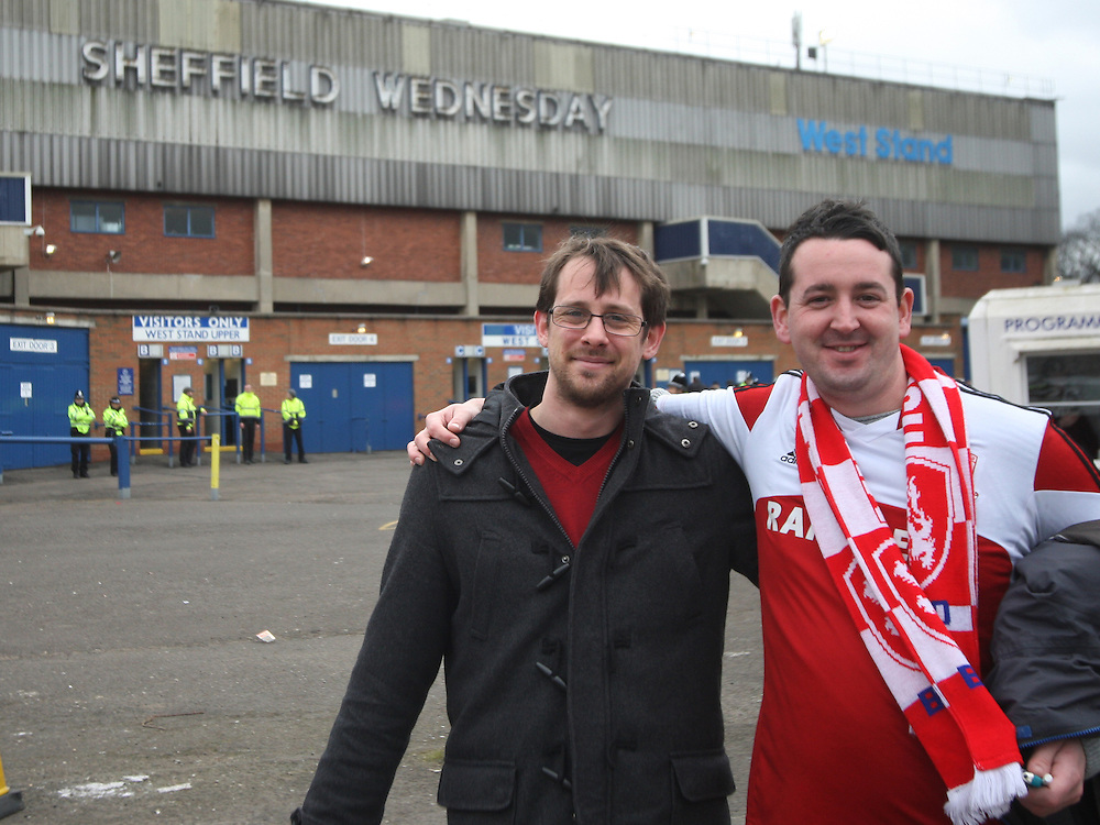 General view of Middlesbrough fans outside of Hillsborough Stadium before the match<br /> <br /> Photographer Jack Phillips/CameraSport<br /> <br /> Football - The Football League Sky Bet Championship - Sheffield Wednesday v Middlesbrough - Saturday 28th February 2015 - Hillsborough - Sheffield<br /> <br /> © CameraSport - 43 Linden Ave. Countesthorpe. Leicester. England. LE8 5PG - Tel: +44 (0) 116 277 4147 - admin@camerasport.com - www.camerasport.com