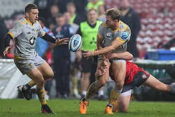 Josh Bassett of Wasps offloads in the tackle - Mandatory by-line: Nick Browning/JMP - 28/11/2020 - RUGBY - Kingsholm - Gloucester, England - Gloucester Rugby v Wasps - Gallagher Premiership Rugby