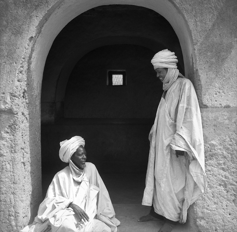 Chief of Market and Magistrate Sitting in Doorway, Zaria, Nigeria, Africa, 1937