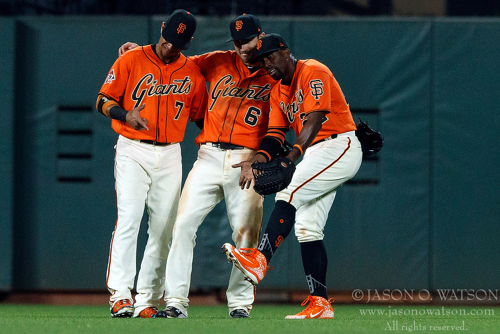 SAN FRANCISCO, CA - JULY 13: Gorkys Hernandez #7 of the San Francisco Giants, Steven Duggar #6 and Andrew McCutchen #22 celebrate after the game against the Oakland Athletics at AT&T Park on July 13, 2018 in San Francisco, California. The San Francisco Giants defeated the Oakland Athletics 7-1. (Photo by Jason O. Watson/Getty Images) *** Local Caption *** Gorkys Hernandez; Steven Duggar; Andrew McCutchen