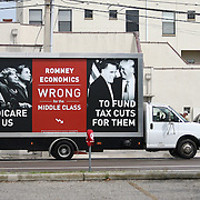 A billboard truck carries a sign during the Republican National Convention in Tampa, Fla. on Wednesday, August 29, 2012. (AP Photo/Alex Menendez)