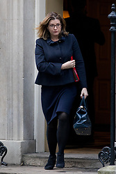 © Licensed to London News Pictures. 16/01/2018. London, UK. International Development Secretary Penny Mordaunt leaving Downing Street after attending a Cabinet meeting this morning. Photo credit : Tom Nicholson/LNP