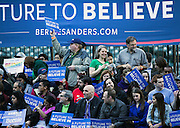 Selected Bernie fans populate the small risers directly behind the podium for the second rally of the week for Democratic presidential candidate Bernie Sanders in Seattle at Safeco Field on Friday, March 25, 2016. Sanders drew thousands to KeyArena on Sunday and decided to return for a second event Friday ahead of the March 26 caucuses.
