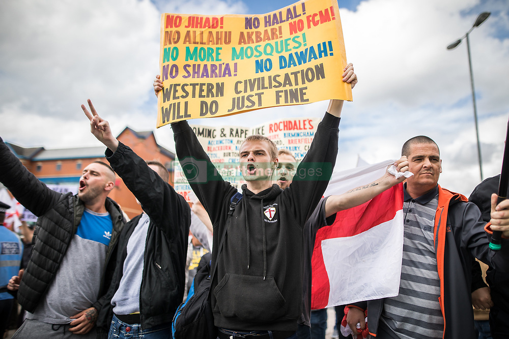 July 29, 2017 - Rochdale, Greater Manchester, UK - Far-right street protest movement , the English Defence League ( EDL ) , hold a demonstration in Rochdale , opposed by anti-fascists , including Unite Against Fascism ( UAF ) . The EDL say they are demonstrating against the sexual grooming and abuse of English girls by Muslim men in Rochdale and against terrorism across the UK  (Credit Image: © Joel Goodman/London News Pictures via ZUMA Wire)