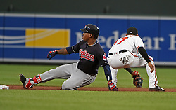 June 19, 2017 - Baltimore, MD, USA - Cleveland Indians' Jose Ramirez, left, slides into second base ahead of the ball reaching Baltimore Orioles' Ruben Tejada in the fourth inning on Monday, June 19, 2017 at Oriole Park at Camden Yards in Baltimore, Md. (Credit Image: © Kenneth K. Lam/TNS via ZUMA Wire)