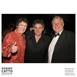 Prime Minister Helen Clark, director Vincent Ward and producer Don Reynolds celebrate at the premiere of the film River Queen in Wanganui, New Zealand.