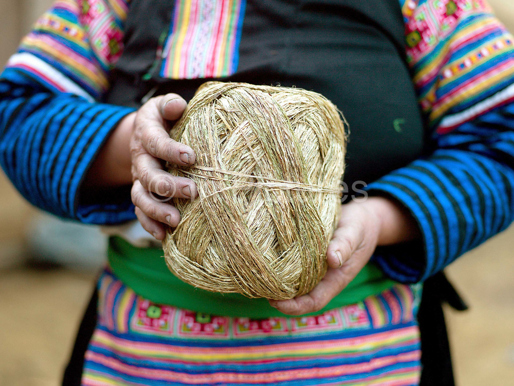 Wearing her traditional clothing, Tong, a Hmong Du woman holds a ball of hemp (cannabis sativa) fibre which she has produced herself, Ban Vieng Hang, Houaphan province, Lao PDR. Making hemp fabric is a long and laborious process; the end result is a strong durable cloth with qualities similar to linen which the Hmong Du women make into skirts for their traditional clothing. In Lao PDR, hemp is now only cultivated in remote mountainous areas of the north.