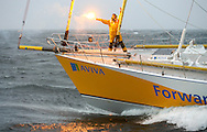Yachtswoman Dee Caffari returns to British waters after becoming the first woman ever to sail alone, non-stop, around the world, against the prevailing winds and tides.