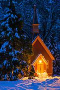 Yosemite chapel in winter, Yosemite National Park, California USA