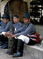 Traditionally dressed  guards at the Yogyakarta Palace. Photograph by Jayne Fincher