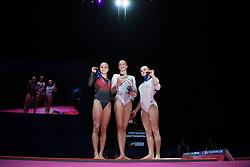 August 5, 2018 - Glasgow, UNITED KINGDOM - 180805 Jonna Adlerteg of Sweden (silver), Nina Derwael of Belgium (gold) and Angelina Melnikova of Russia (bronze) poses with their medals after the final of women's uneven bars in Artistic Gymnastics during the European Championships on August 5, 2018 in Glasgow..Photo: Joel Marklund / BILDBYRN / kod JM / 87768 (Credit Image: © Joel Marklund/Bildbyran via ZUMA Press)