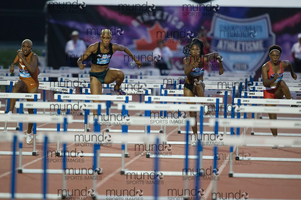 (Montreal, Canada---27 July 2019) Mid race in the women's 100m hurdles final, from left to right Mariam Abdul-Rashid (silver), Phylicia George (gold), Farah Jacques (5th), Natasha Russell (4th) at 2019 Canadian Track and Field Championships at the Claude Robillard Sports Centre in Montreal. 2019 Copyright Sean Burges / Mundo Sport Images.