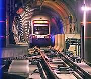 A Sound Transit light rail train heads south into the tunnel towards the Capitol Hill Station from the University of Washington. (Mike Siegel / The Seattle Times)