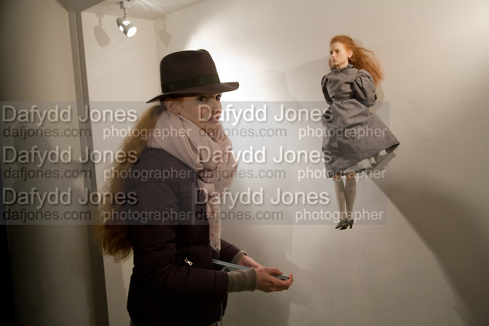 ALICE ANDERSON, The Doll's Day. Alice Anderson private view. Artprojx Space. Beauchamp Place. London. 7 January 2009 *** Local Caption *** -DO NOT ARCHIVE -Copyright Photograph by Dafydd Jones. 248 Clapham Rd. London SW9 0PZ. Tel 0207 820 0771. www.dafjones.com<br /> ALICE ANDERSON, The Doll's Day. Alice Anderson private view. Artprojx Space. Beauchamp Place. London. 7 January 2009