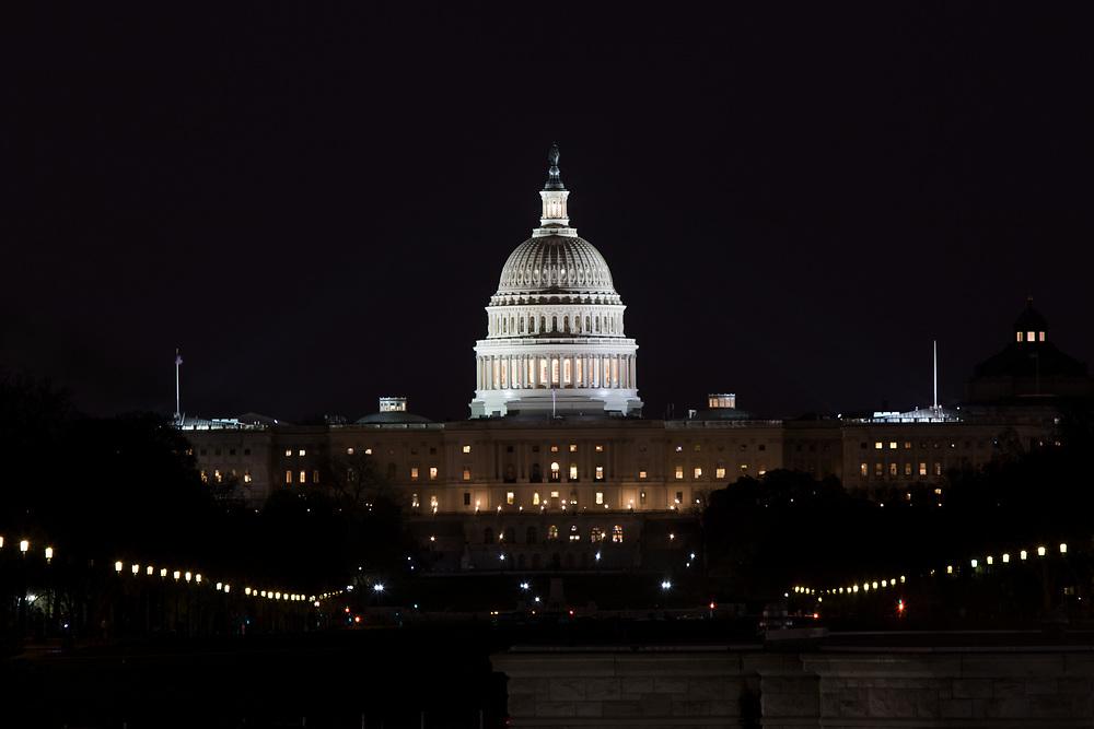 April 3, 2017: The US Capitol at night.