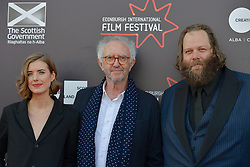 Left to right, Agyness Deyn (Actor), Jonathan Pryce (Actor), Olafur Darri Olaffssohn (Actor) on the red carpet at the 2016 Edinburgh International Film Festival, WORLD PREMIERE of The White King at Cineworld, Edinburgh18th June 2016, (c) Brian Anderson | Edinburgh Elite media