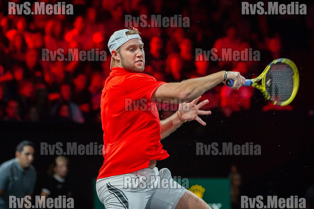 GENEVA, SWITZERLAND - SEPTEMBER 22: Jack Sock of Team World in action during Day 3 of the Laver Cup 2019 at Palexpo on September 20, 2019 in Geneva, Switzerland. The Laver Cup will see six players from the rest of the World competing against their counterparts from Europe. Team World is captained by John McEnroe and Team Europe is captained by Bjorn Borg. The tournament runs from September 20-22. (Photo by Robert Hradil/RvS.Media)