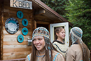 Julianne Wilson, 20, atcthe K'Beq' Interpretive Site. Julianne is of Dena'ina Athabaskan descent and lives in Kenai, Alaska.<br /> <br /> Photographer: Christina Sjögren<br /> <br /> Copyright 2019, All Rights Reserved
