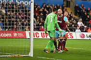 James Collins of West Ham Utd © shouts at his teammate, Adrian, the West Ham goalkeeper as they argue. Barclays Premier league match, Swansea city v West Ham Utd at the Liberty Stadium in Swansea, South Wales  on Sunday 20th December 2015.<br /> pic by  Andrew Orchard, Andrew Orchard sports photography.
