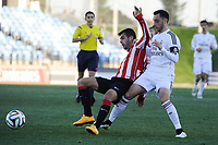 Real Madrid Castilla´s Aguiza and Athletic Club B's Magdaleno during 2014-15 Spanish Second Division match between Real Madrid Castilla and Athletic Club B at Alfredo Di Stefano stadium in Madrid, Spain. February 08, 2015. (ALTERPHOTOS/Luis Fernandez)