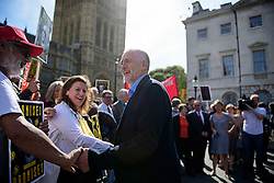 © Licensed to London News Pictures. 13/09/2016. London, UK.  Labour Party leader JEREMY CORBYN attends a rally outside the Parliament in London for the Orgreave Truth and Justice Campaign, which calls for a public inquiry into the June 1984 confrontation between police and pickets at the British Steel Corporation coking plant in Orgreave, South Yorkshire. Photo credit: Ben Cawthra/LNP