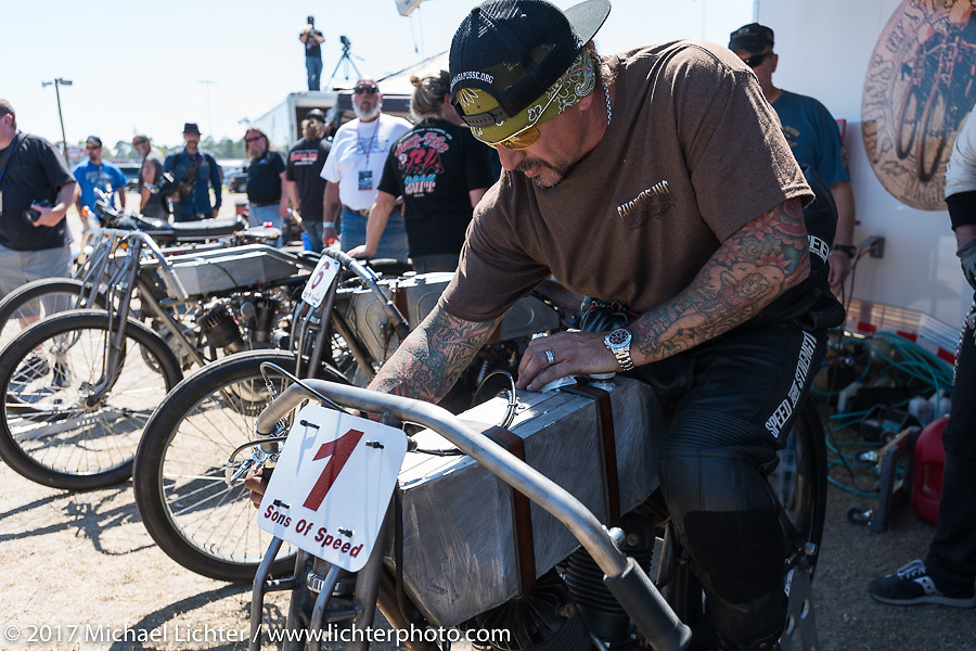 Billy Lane on his 1924 single-speed 1924 Harley-Davidson Model J 62 cubic inch racer in the pits before the start of Billy's Son's of Speed race during Daytona Bike Week. New Smyrna Beach, FL. USA. Saturday March 18, 2017. Photography ©2017 Michael Lichter.