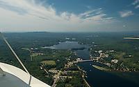 Aerial view of Lake Winnisquam showing Mosquito Bridge and the sandbar.