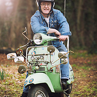14/03/15 Knottingley West Yorks Malcolm Craig with his scooter - for Wolesley Mag
