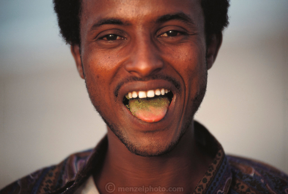 A Somalian man chewing qat green leaves from Ethiopia, a popular habit among men. Qat green leaves produce an amphetamine-like high. The leaves are delivered daily by an armed convoy from a small airstrip in the desert where Cessnas fly it in daily. Somaliland is the breakaway republic in northern Somalia that declared independence in 1991 after 50,000 died in civil war. March 1992.  Somaliland, the unrecognized breakaway Republic of Somalia..