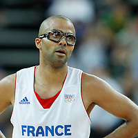 08 August 2012: France Tony Parker rests during 66-59 Team Spain victory over Team France, during the men's basketball quarter-finals, at the 02 Arena, in London, Great Britain.