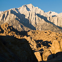 Summit of Lone Pine Peak and granite boulder formation typical of the Alabama Hills, California
