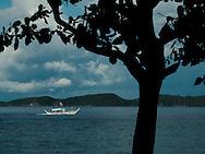 Bangka boat sails offshore of Anilao, Batangas, Calabarzon, Luzon Island, Philippines