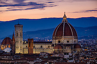 FLORENCE, ITALY - CIRCA MAY 2015:  Florence Cathedral,  Santa Maria del Fiore, known as The Duomo, at dusk as seen from Piazza Michelangelo