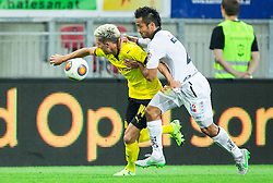 Kevin Kampl of Borussia Dortmund vs Stephan Palla of WAC during football match between WAC Wolfsberg (AUT) and  Borussia Dortmund (GER) in First leg of Third qualifying round of UEFA Europa League 2015/16, on July 30, 2015 in Wörthersee Stadion, Klagenfurt, Austria. Photo by Vid Ponikvar / Sportida