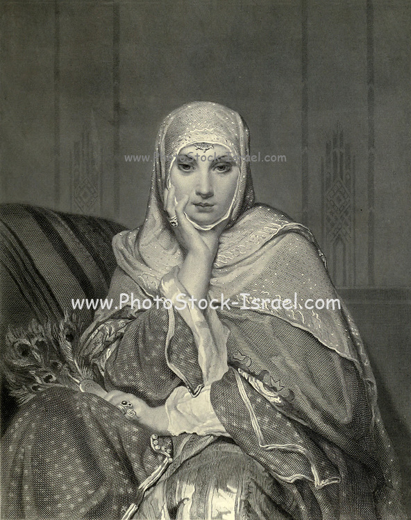 19th Century Steel Engraving of A Daughter of the East a portrait of a young Egyptian woman in traditional clothes. From the book 'Picturesque Palestine, Sinai and Egypt : social life in Egypt; a description of the country and its people' with illustrations on Steel and Wood by Wilson, Charles William, Sir, 1836-1905; Lane-Poole, Stanley, 1854-1931. Published by J.S. Virtue in London in 1884