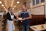 L Manzes pie and mash restaurant on the 19th September 2019 in Walthamstow in the United Kingdom. Londons oldest pie and mash shop, L Manzes serves pie and mash with traditional liquor as well as jellied and stewed eels in Victorian style surroundings.