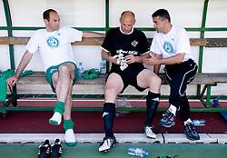 Andrej Poljsak, goalkeeper Robert Volk and Janez Pate at final match of 2nd SNL league between NK Olimpija in NK Aluminij, on May 23, 2009, ZAK, Ljubljana, Slovenia. Aluminij won 2:1. NK Olimpija is a Champion of 2nd SNL and thus qualified to 1st Slovenian football league for season 2009/2010. (Photo by Vid Ponikvar / Sportida)