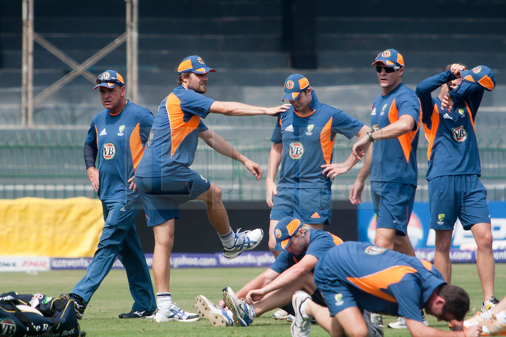 ©London News Pictures. 18/03/2011.Australian cricket team do some stretches ahead of there clash against Pakistan at R.Premadasa stadium Colombo Sri Lanka. Photo credit should read Asanka Brendon Ratnayake/London News Pictures. Photo credit should read Asanka Brendon Ratnayake/London News Pictures