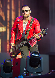 Johnny Christ of Avenged Sevenfold headlines on the main stage on day 1 of Download Festival at Donington Park on June 08, 2018 in Castle Donington, England. Picture date: Friday 08 June, 2018. Photo credit: Katja Ogrin/ EMPICS Entertainment.