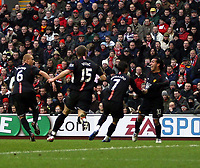 Photo: Mark Stephenson/Sportsbeat Images.<br /> Liverpool v Manchester United. The FA Barclays Premiership. 16/12/2007.Carlos Tevez (R)  celebrates his goal with team mates