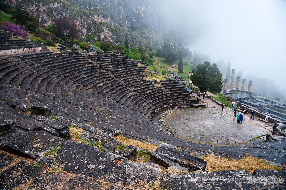 Delphi, Greece. In Greek mythology the site of the Delphic oracle. The ancient theatre and Temple of Apollo.