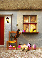 Easter is going on, and the two cats in this scene are certainly curious about some of the festivities that are going on. This beautiful scene depicts several brightly decorated Easter eggs resting along the windowsill and ground, just outside of what appears to be a home in the country. The cats are absolutely captivated by these eggs. One of the cats is even reaching out to gently bat one of the eggs with its paw. This is a wonderful moment that brings to mind those small, unforgettable memories that make for the Easters we remember fondly always. .<br /> <br /> BUY THIS PRINT AT<br /> <br /> FINE ART AMERICA<br /> ENGLISH<br /> https://janke.pixels.com/featured/cats-at-easter-morning-jan-keteleer.html<br /> <br /> <br /> WADM / OH MY PRINTS<br /> DUTCH / FRENCH / GERMAN<br /> https://www.werkaandemuur.nl/nl/shopwerk/Katten---Katten-op-paasochtend/437029/134