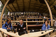 Bled, Slovenia, YUGOSLAVIA.  Press area, left to right, Arnie ZARACH, Tony OWEN and Cynthia JUDD. 1989 World Rowing Championships, Lake Bled. [Mandatory Credit. Peter Spurrier/Intersport Images]