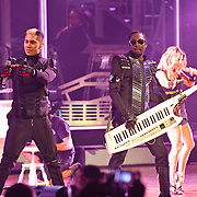 "COLUMBIA, MD - June 9th, 2011: Taboo, Will.I.Am and Fergie of the Grammy Award-wining hip-hop group The Black Eyed Peas perform at Merriweather Post Pavilion in Columbia, MD. The group recently released the single ""Don't Stop The Party"" from their sixth studio album, The Beginning. (Photo by Kyle Gustafson/For The Washington Post)"