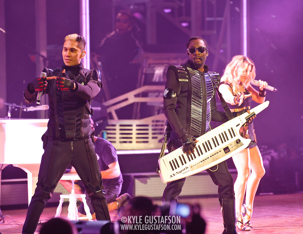 """COLUMBIA, MD - June 9th, 2011: Taboo, Will.I.Am and Fergie of the Grammy Award-wining hip-hop group The Black Eyed Peas perform at Merriweather Post Pavilion in Columbia, MD. The group recently released the single """"Don't Stop The Party"""" from their sixth studio album, The Beginning. (Photo by Kyle Gustafson/For The Washington Post)"""