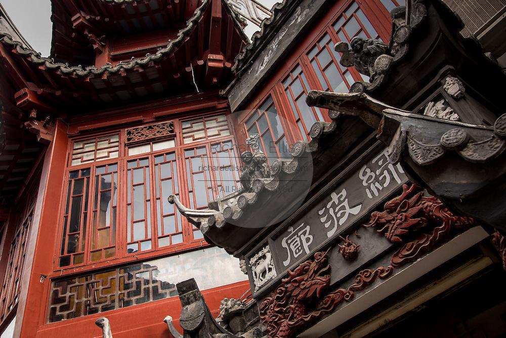 Traditional Chinese buildings in Yu Yuan Gardens Bazaar Shanghai, China