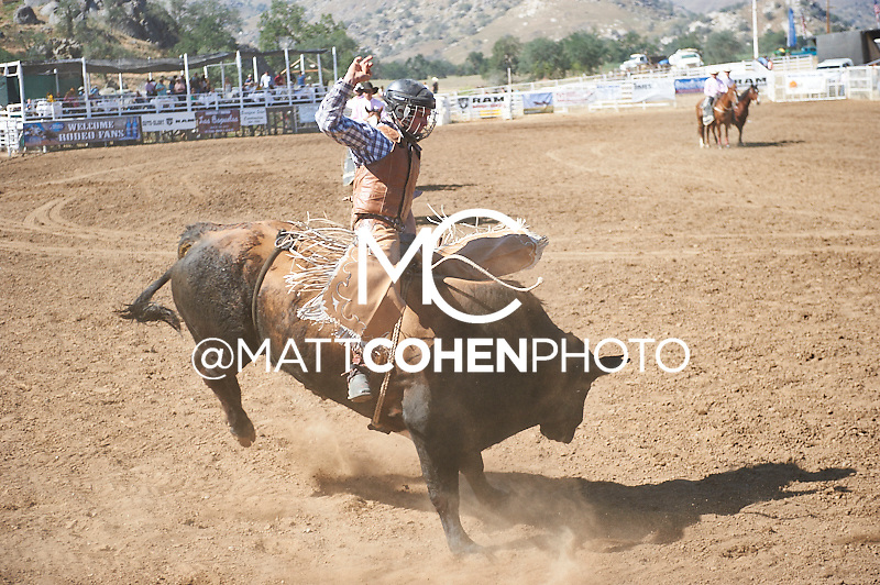Bull rider Thor Hoefer of Priest River, ID rides Svengali at the Woodlake Lions Rodeo.<br /> <br /> <br /> UNEDITED LOW-RES PREVIEW<br /> <br /> <br /> File shown may be an unedited low resolution version used as a proof only. All prints are 100% guaranteed for quality. Sizes 8x10+ come with a version for personal social media. I am currently not selling downloads for commercial/brand use.