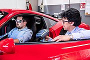 Maranello, Ferrari HMI, Stefano Randazzo and<br /> Flavio Gargiulo working<br /> on car ergonomic